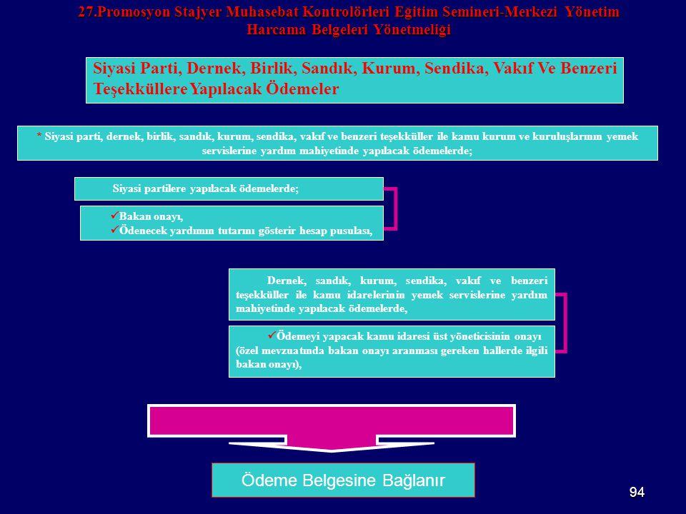 94 27.Promosyon Stajyer Muhasebat Kontrolörleri Eğitim Semineri-Merkezi Yönetim Harcama Belgeleri Yönetmeliği Ödeme Belgesine Bağlanır Siyasi Parti, D