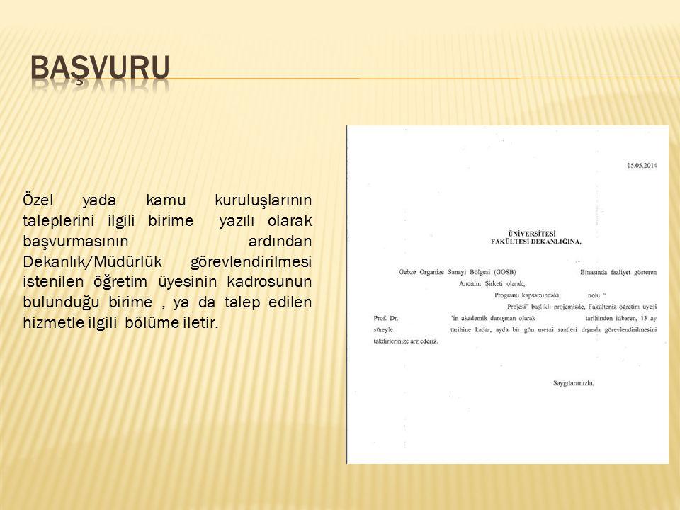 Özel yada kamu kuruluşlarının taleplerini ilgili birime yazılı olarak başvurmasının ardından Dekanlık/Müdürlük görevlendirilmesi istenilen öğretim üye