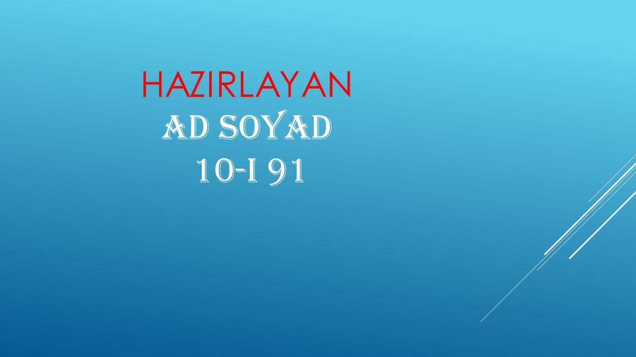 HAZIRLAYAN Ad Soyad 10-I 91
