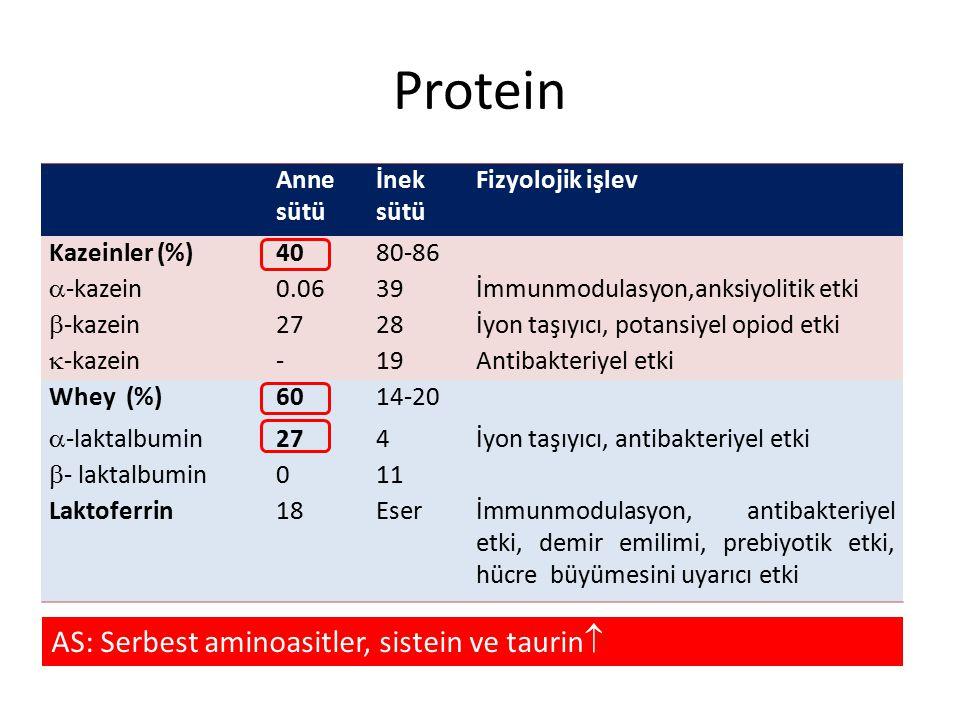 Protein Anne sütü İnek sütü Fizyolojik işlev Kazeinler (%)4080-86  -kazein 0.0639İmmunmodulasyon,anksiyolitik etki  -kazein 2728İyon taşıyıcı, potan