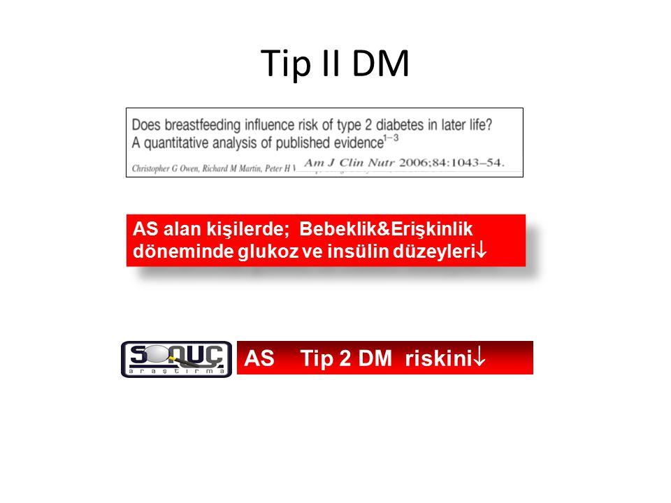 Tip II DM AS alan kişilerde; Bebeklik&Erişkinlik döneminde glukoz ve insülin düzeyleri  AS Tip 2 DM riskini 