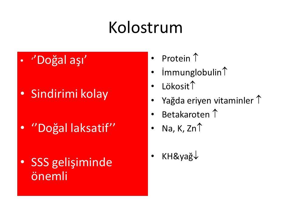 Kolostrum Doğumdan sonra ilk 4-5 günde salgılanan, koyu kıvamlı ve sarımsı renkteki süt Protein  İmmunglobulin  Lökosit  Yağda eriyen vitaminler 