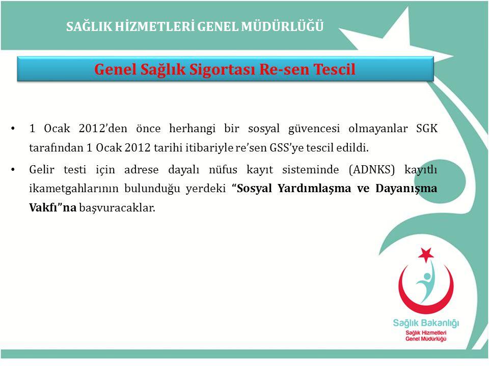 SAĞLIK HİZMETLERİ GENEL MÜDÜRLÜĞÜ Genel Sağlık Sigortası Re-sen Tescil 1 Ocak 2012'den önce herhangi bir sosyal güvencesi olmayanlar SGK tarafından 1 Ocak 2012 tarihi itibariyle re'sen GSS'ye tescil edildi.