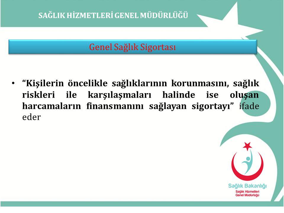 SAĞLIK HİZMETLERİ GENEL MÜDÜRLÜĞÜ Genel Sağlık Sigortası Sayılanlar Emekliler 1 Temmuz 2008 Aktif SSK (4/a), Bağ-Kur (4/b) sigortalıları 1 Ekim 2008 Kamu personeli (memur) 15 Ocak 2010 Türk Silahlı Kuvvetleri Personeli 15 Ekim 2010 (TSK'da görev yapan askeri ve sivil personel) İşsizlik 1 Ocak 2012 Yeşil kartlılar 1 Ocak 2012 (3816 sayılı Ödeme Gücü Olmayan Vatandaşların Tedavi Giderlerinin Yeşil Kart Verilerek Devlet Tarafından Karşılanması Hakkında Kanun kapsamında sağlık yardımı verilen yeşil kartlılar 1 Ocak 2012 tarihinden itibaren 60/c-1 kapsamında GSS'ye tescil edildiler.