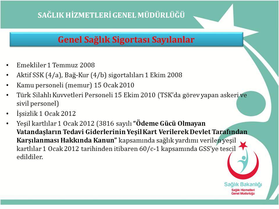 SAĞLIK HİZMETLERİ GENEL MÜDÜRLÜĞÜ Genel Sağlık Sigortalısı Sayılanlar Kısmi süreli çalışanlar 1 Ocak 2012 Türkiye'de kesintisiz 1 yıldan fazla ikamet eden yabancılar 1 Ocak 2012 Vatansız ve uluslar arası koruma altına alınanlar ( 04.04.2013) Emekli Sandığı ile ilgisini isteğe bağlı devam ettiren iştirakçiler 15 Ocak 2012 2022 sayılı Kanun kapsamında 65 yaş aylığı ve özürlü aylığı alanlar 1 Ocak 2012 442 sayılı (md.