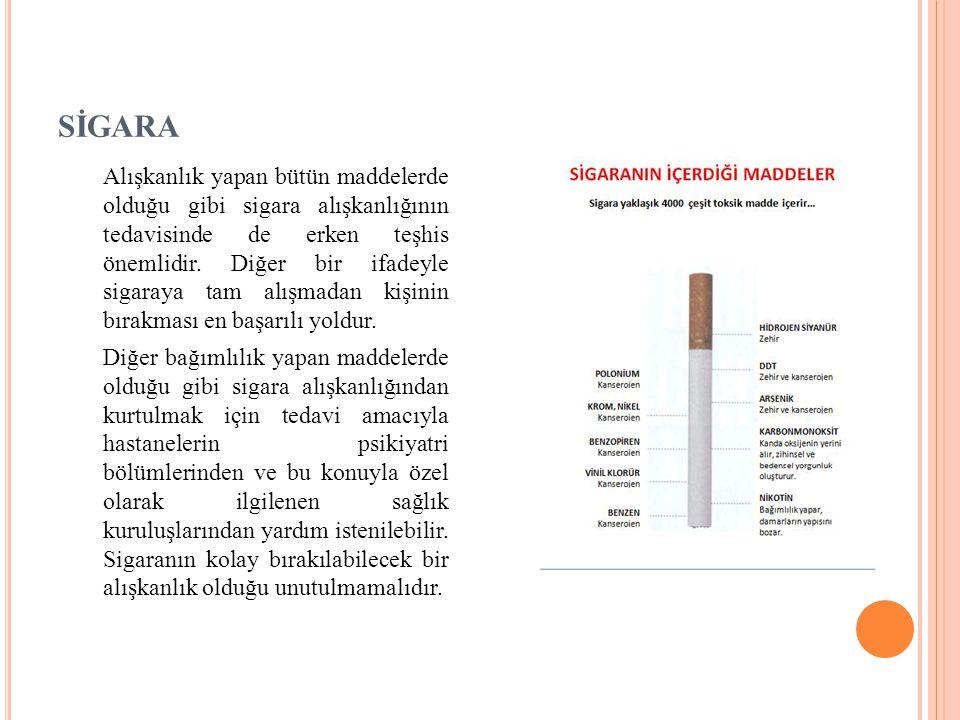 SİGARA Alışkanlık yapan bütün maddelerde olduğu gibi sigara alışkanlığının tedavisinde de erken teşhis önemlidir. Diğer bir ifadeyle sigaraya tam alış