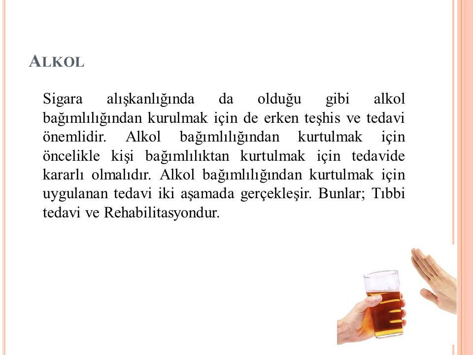 A LKOL Sigara alışkanlığında da olduğu gibi alkol bağımlılığından kurulmak için de erken teşhis ve tedavi önemlidir. Alkol bağımlılığından kurtulmak i