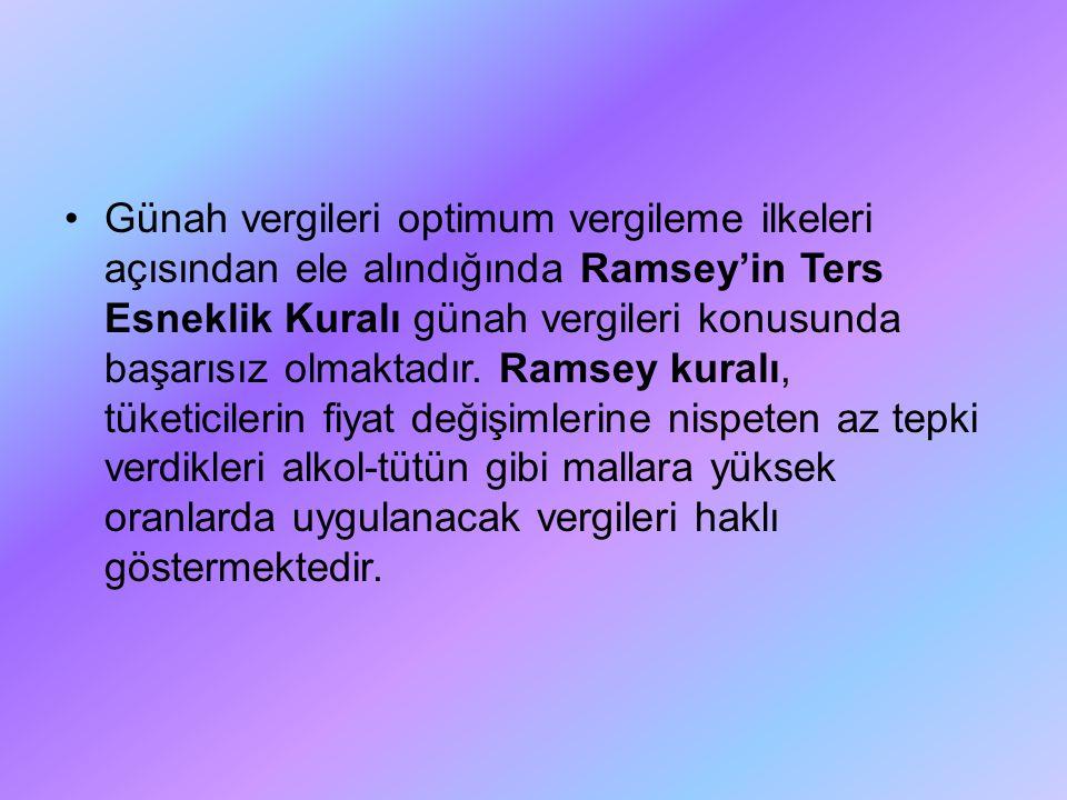 Günah vergileri optimum vergileme ilkeleri açısından ele alındığında Ramsey'in Ters Esneklik Kuralı günah vergileri konusunda başarısız olmaktadır. Ra