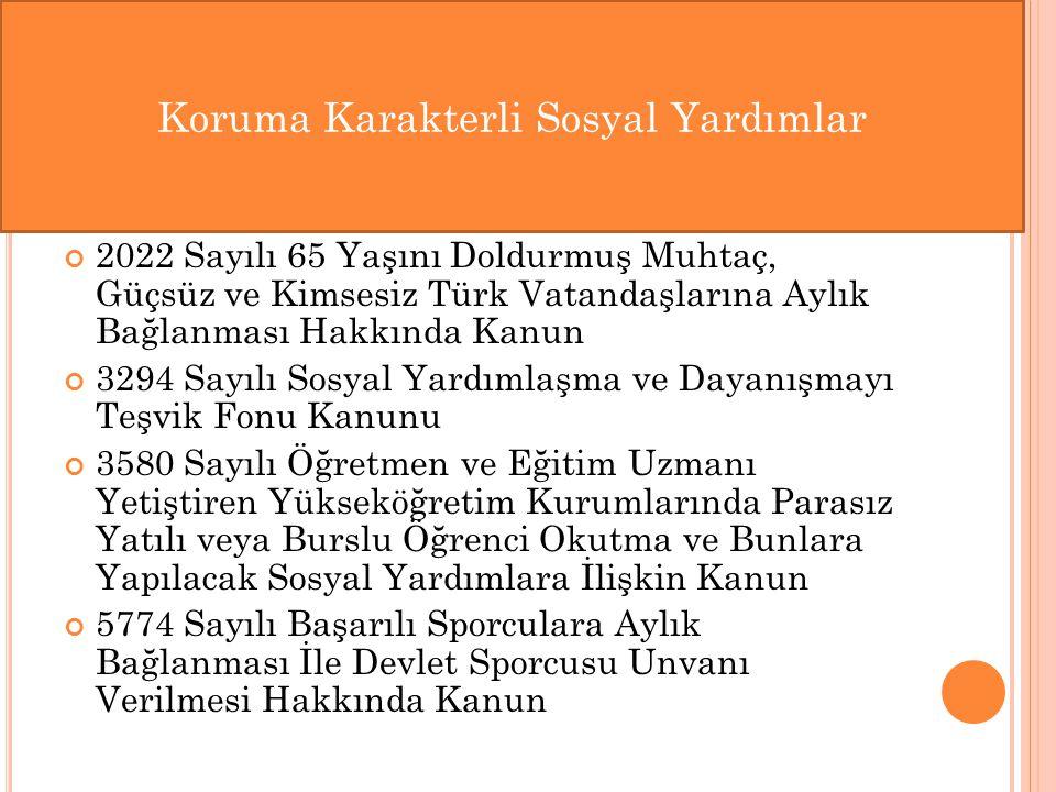 2022 Sayılı 65 Yaşını Doldurmuş Muhtaç, Güçsüz ve Kimsesiz Türk Vatandaşlarına Aylık Bağlanması Hakkında Kanun 3294 Sayılı Sosyal Yardımlaşma ve Dayan