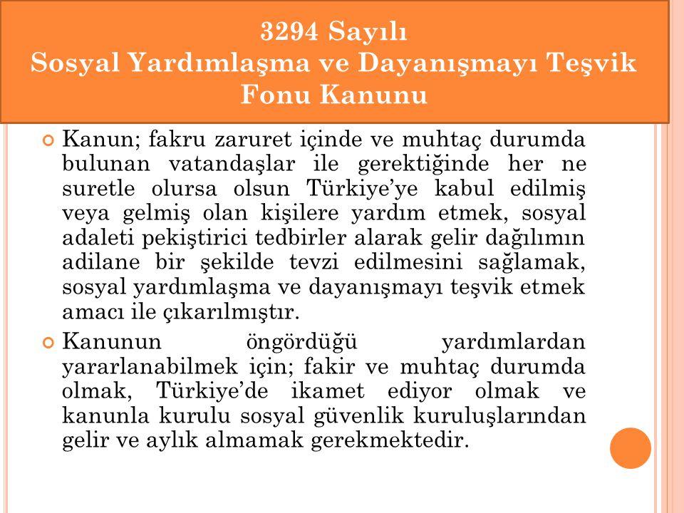 Kanun; fakru zaruret içinde ve muhtaç durumda bulunan vatandaşlar ile gerektiğinde her ne suretle olursa olsun Türkiye'ye kabul edilmiş veya gelmiş ol