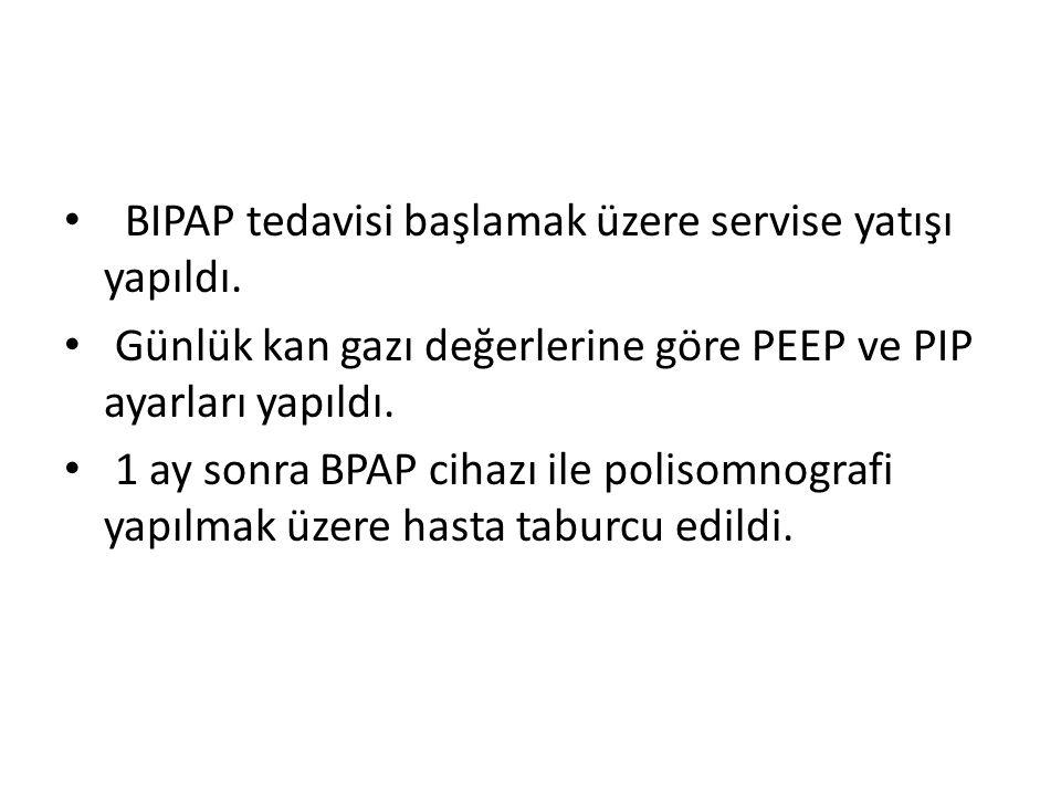 BIPAP tedavisi başlamak üzere servise yatışı yapıldı. Günlük kan gazı değerlerine göre PEEP ve PIP ayarları yapıldı. 1 ay sonra BPAP cihazı ile poliso
