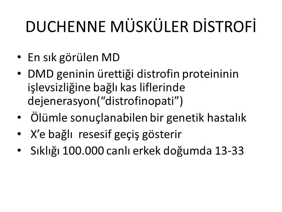 """DUCHENNE MÜSKÜLER DİSTROFİ En sık görülen MD DMD geninin ürettiği distrofin proteininin işlevsizliğine bağlı kas liflerinde dejenerasyon(""""distrofinopa"""