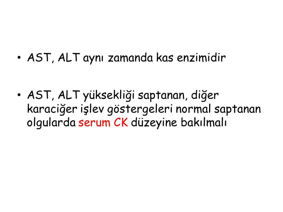 AST, ALT aynı zamanda kas enzimidir AST, ALT yüksekliği saptanan, diğer karaciğer işlev göstergeleri normal saptanan olgularda serum CK düzeyine bakıl