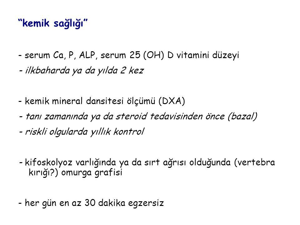 """""""kemik sağlığı"""" - serum Ca, P, ALP, serum 25 (OH) D vitamini düzeyi - ilkbaharda ya da yılda 2 kez - kemik mineral dansitesi ölçümü (DXA) - tanı zaman"""