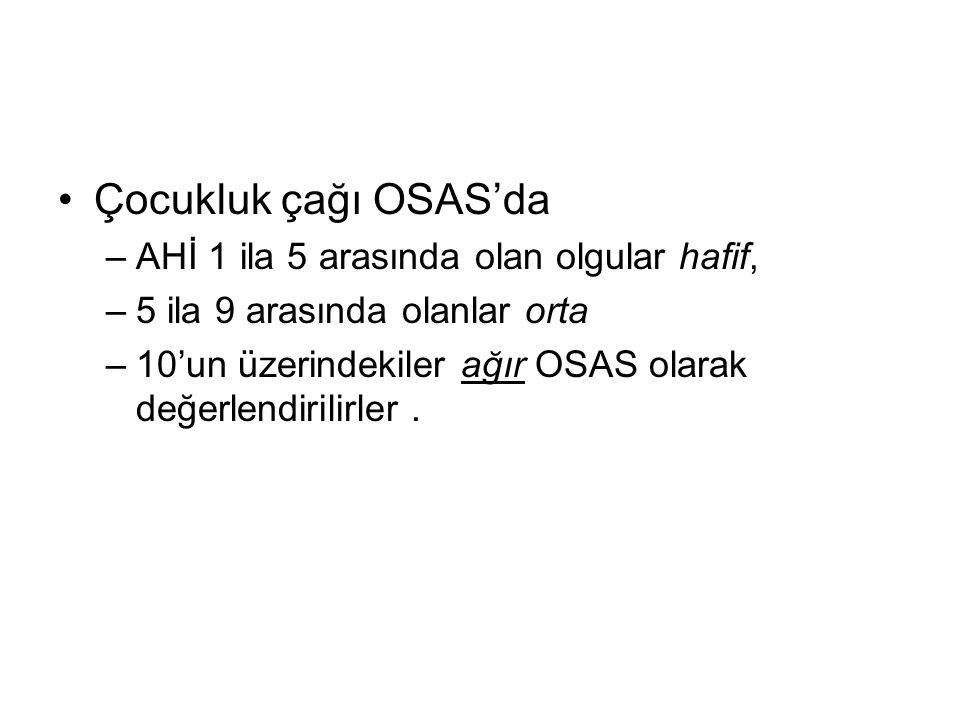 Çocukluk çağı OSAS'da –AHİ 1 ila 5 arasında olan olgular hafif, –5 ila 9 arasında olanlar orta –10'un üzerindekiler ağır OSAS olarak değerlendirilirle