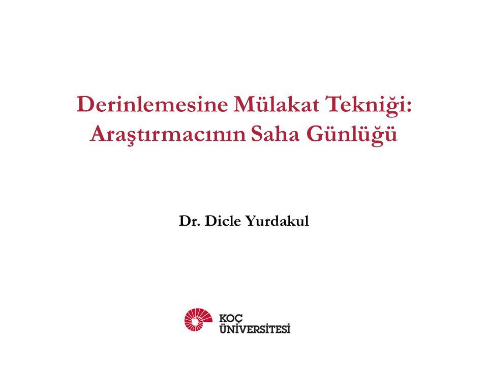 Derinlemesine Mülakat Tekniği: Araştırmacının Saha Günlüğü Dr. Dicle Yurdakul