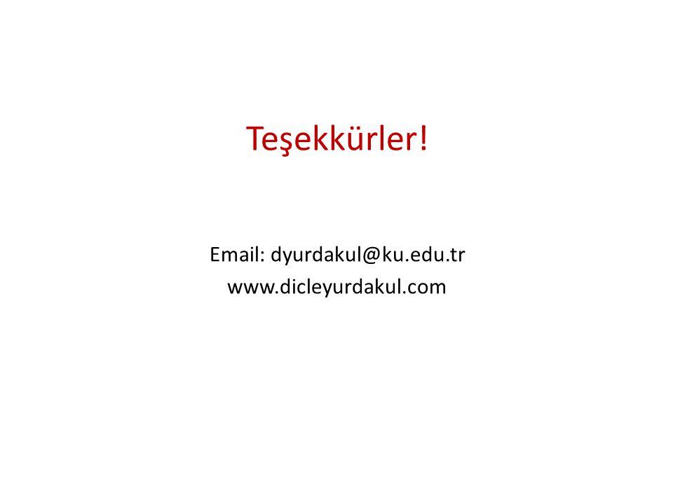 Teşekkürler! Email: dyurdakul@ku.edu.tr www.dicleyurdakul.com