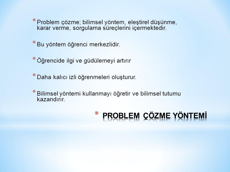 * Problem çözme; bilimsel yöntem, eleştirel düşünme, karar verme, sorgulama süreçlerini içermektedir.
