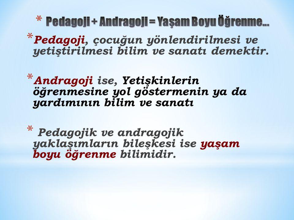 * Pedagoji, çocuğun yönlendirilmesi ve yetiştirilmesi bilim ve sanatı demektir.