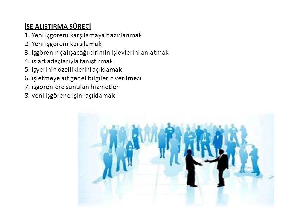 İŞE ALIŞTIRMA SÜRECİ 1. Yeni işgöreni karşılamaya hazırlanmak 2. Yeni işgöreni karşılamak 3. işgörenin çalışacağı birimin işlevlerini anlatmak 4. iş a
