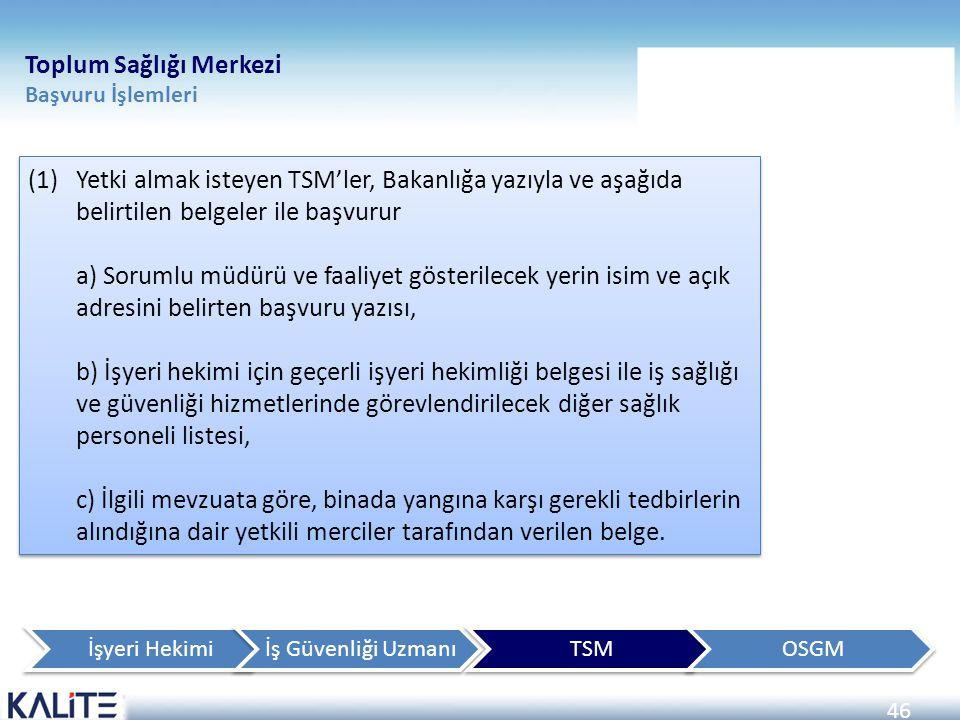 46 (1)Yetki almak isteyen TSM'ler, Bakanlığa yazıyla ve aşağıda belirtilen belgeler ile başvurur a) Sorumlu müdürü ve faaliyet gösterilecek yerin isim