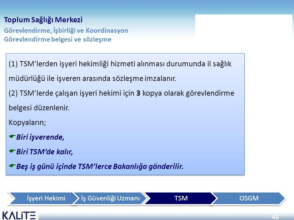 48 Toplum Sağlığı Merkezi Görevlendirme, İşbirliği ve Koordinasyon Görevlendirme belgesi ve sözleşme (1) TSM'lerden işyeri hekimliği hizmeti alınması