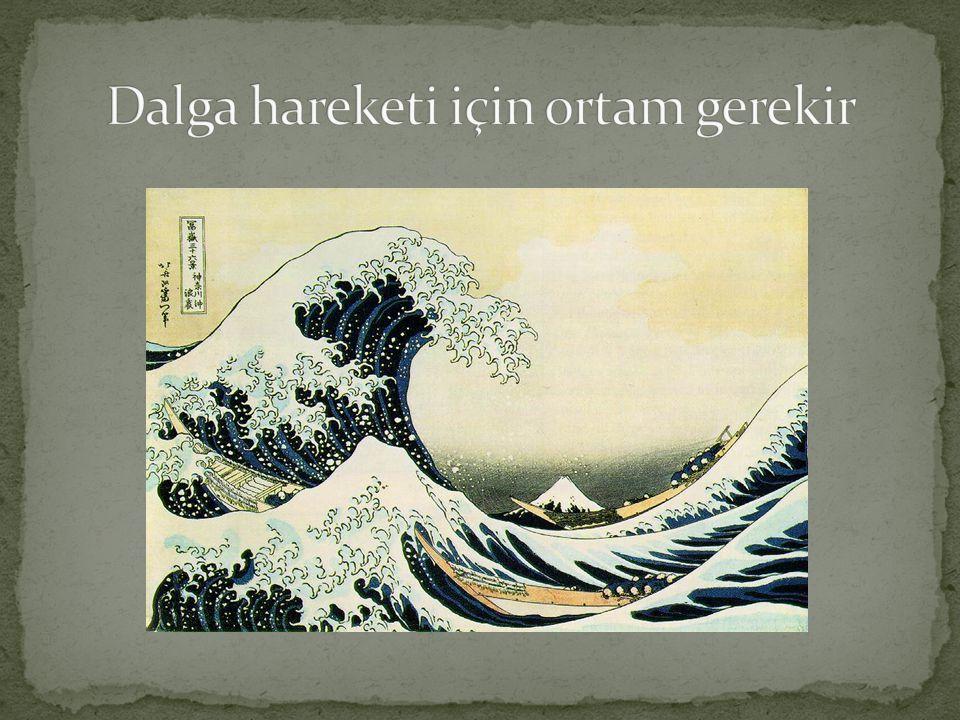 tepe çukur Yaprak, dalganın frekansına bağlı olarak aşağı yukarı hareket eder dışarı doğru hareket eden dalganın hızı dalgaboyu