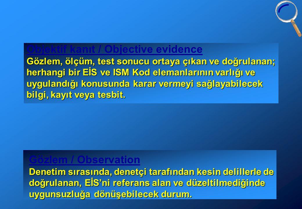 Objektif kanıt / Objective evidence Gözlem, ölçüm, test sonucu ortaya çıkan ve doğrulanan; herhangi bir EİS ve ISM Kod elemanlarının varlığı ve uygulandığı konusunda karar vermeyi sağlayabilecek bilgi, kayıt veya tesbit.