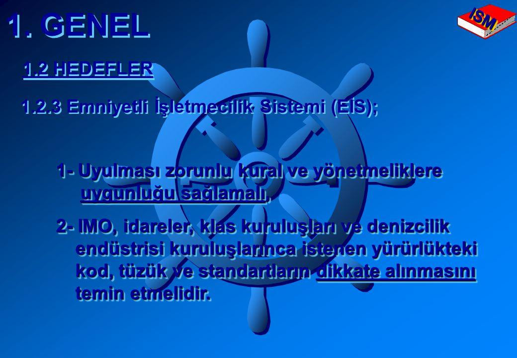 1. GENEL 1.2.3 Emniyetli İşletmecilik Sistemi (EİS); 1- Uyulması zorunlu kural ve yönetmeliklere 1- Uyulması zorunlu kural ve yönetmeliklere uygunluğu