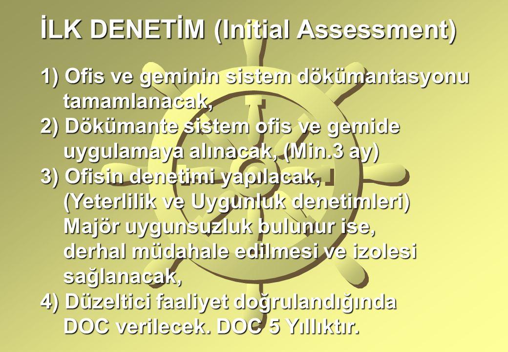 İLK DENETİM (Initial Assessment) 1) Ofis ve geminin sistem dökümantasyonu tamamlanacak, tamamlanacak, 2) Dökümante sistem ofis ve gemide uygulamaya alınacak, (Min.3 ay) uygulamaya alınacak, (Min.3 ay) 3) Ofisin denetimi yapılacak, (Yeterlilik ve Uygunluk denetimleri) (Yeterlilik ve Uygunluk denetimleri) Majör uygunsuzluk bulunur ise, Majör uygunsuzluk bulunur ise, derhal müdahale edilmesi ve izolesi derhal müdahale edilmesi ve izolesi sağlanacak, sağlanacak, 4) Düzeltici faaliyet doğrulandığında DOC verilecek.