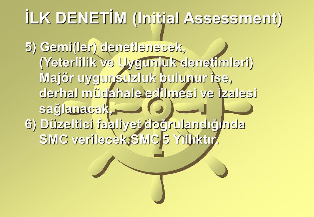 İLK DENETİM (Initial Assessment) 5) Gemi(ler) denetlenecek, (Yeterlilik ve Uygunluk denetimleri) (Yeterlilik ve Uygunluk denetimleri) Majör uygunsuzlu