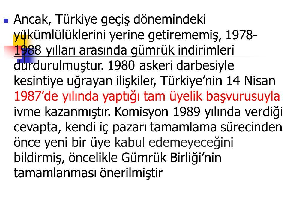 Ancak, Türkiye geçiş dönemindeki yükümlülüklerini yerine getirememiş, 1978- 1988 yılları arasında gümrük indirimleri durdurulmuştur. 1980 askeri darbe