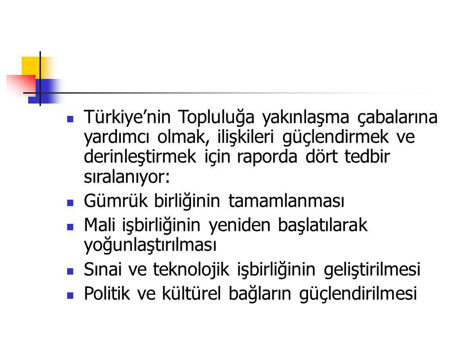 Türkiye'nin Topluluğa yakınlaşma çabalarına yardımcı olmak, ilişkileri güçlendirmek ve derinleştirmek için raporda dört tedbir sıralanıyor: Gümrük bir