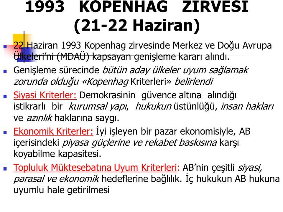 1993 KOPENHAG ZİRVESİ (21-22 Haziran) 22 Haziran 1993 Kopenhag zirvesinde Merkez ve Doğu Avrupa Ülkeleri'ni (MDAÜ) kapsayan genişleme kararı alındı. G