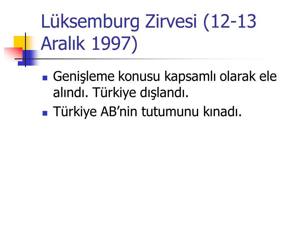 Lüksemburg Zirvesi (12-13 Aralık 1997) Genişleme konusu kapsamlı olarak ele alındı. Türkiye dışlandı. Türkiye AB'nin tutumunu kınadı.