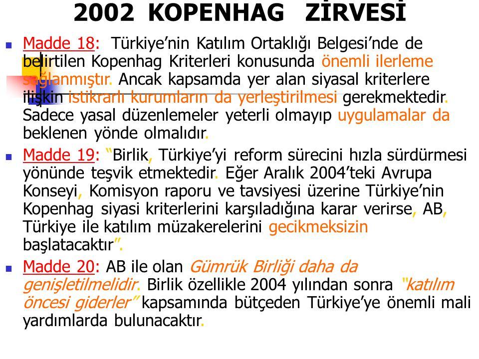 2002 KOPENHAG ZİRVESİ Madde 18: Türkiye'nin Katılım Ortaklığı Belgesi'nde de belirtilen Kopenhag Kriterleri konusunda önemli ilerleme sağlanmıştır. An