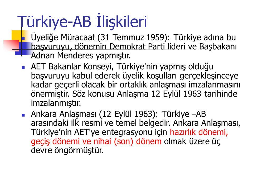 Türkiye-AB İlişkileri Üyeliğe Müracaat (31 Temmuz 1959): Türkiye adına bu başvuruyu, dönemin Demokrat Parti lideri ve Başbakanı Adnan Menderes yapmışt