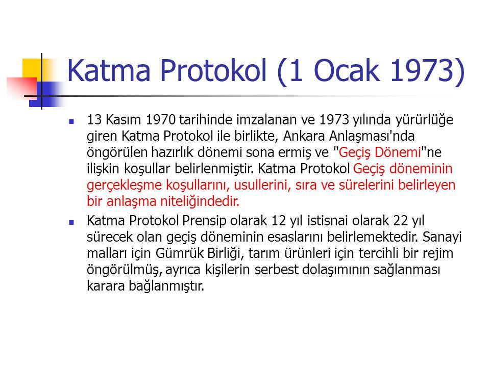 Katma Protokol (1 Ocak 1973) 13 Kasım 1970 tarihinde imzalanan ve 1973 yılında yürürlüğe giren Katma Protokol ile birlikte, Ankara Anlaşması'nda öngör