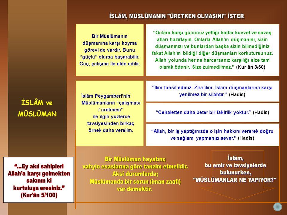 İSLÂM ve MÜSLÜMAN Bir Müslümanın düşmanına karşı koyma görevi de vardır.