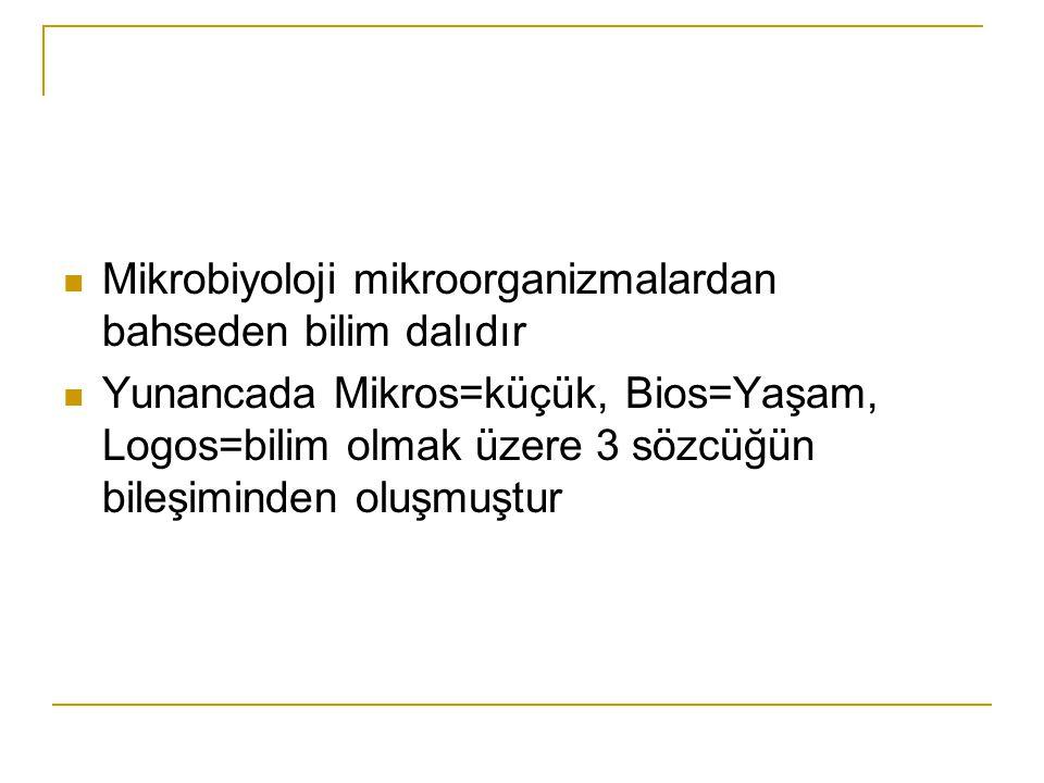 Mikrobiyoloji mikroorganizmalardan bahseden bilim dalıdır Yunancada Mikros=küçük, Bios=Yaşam, Logos=bilim olmak üzere 3 sözcüğün bileşiminden oluşmuşt