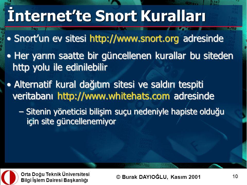 Orta Doğu Teknik Üniversitesi Bilgi İşlem Dairesi Başkanlığı © Burak DAYIOĞLU, Kasım 2001 10 İnternet'te Snort Kuralları Snort'un ev sitesi http://www