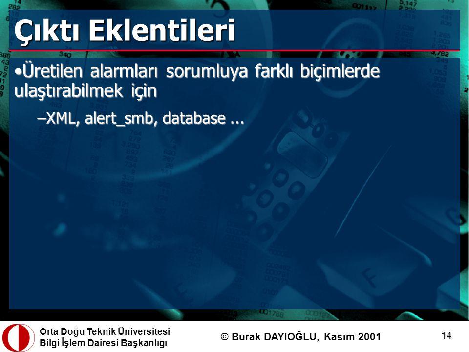 Orta Doğu Teknik Üniversitesi Bilgi İşlem Dairesi Başkanlığı © Burak DAYIOĞLU, Kasım 2001 14 Çıktı Eklentileri Üretilen alarmları sorumluya farklı biç
