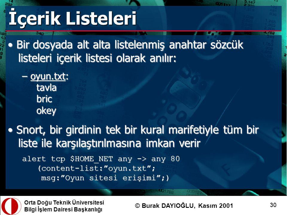 Orta Doğu Teknik Üniversitesi Bilgi İşlem Dairesi Başkanlığı © Burak DAYIOĞLU, Kasım 2001 30 İçerik Listeleri Bir dosyada alt alta listelenmiş anahtar