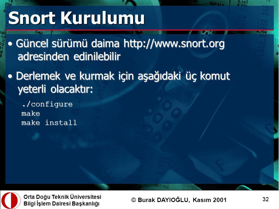 Orta Doğu Teknik Üniversitesi Bilgi İşlem Dairesi Başkanlığı © Burak DAYIOĞLU, Kasım 2001 32 Snort Kurulumu Güncel sürümü daima http://www.snort.org a