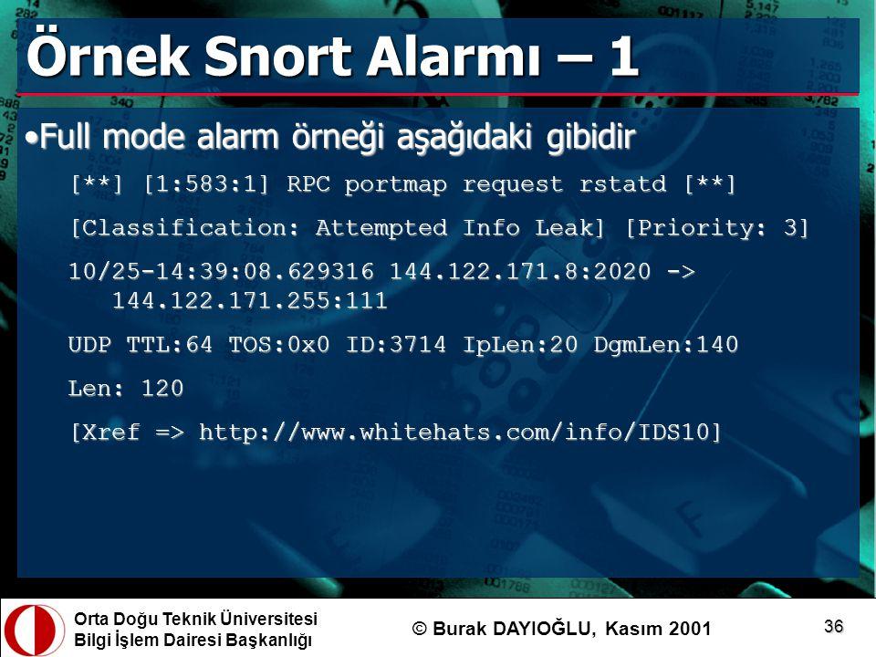 Orta Doğu Teknik Üniversitesi Bilgi İşlem Dairesi Başkanlığı © Burak DAYIOĞLU, Kasım 2001 36 Örnek Snort Alarmı – 1 Full mode alarm örneği aşağıdaki g