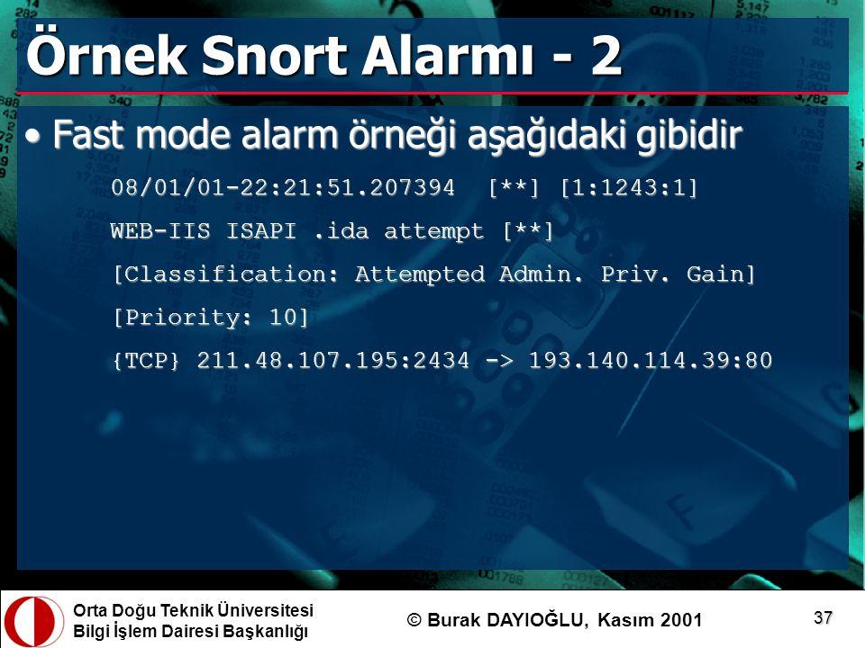 Orta Doğu Teknik Üniversitesi Bilgi İşlem Dairesi Başkanlığı © Burak DAYIOĞLU, Kasım 2001 37 Örnek Snort Alarmı - 2 Fast mode alarm örneği aşağıdaki g