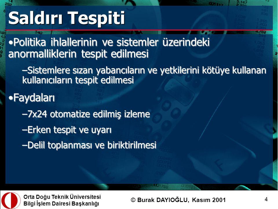 Orta Doğu Teknik Üniversitesi Bilgi İşlem Dairesi Başkanlığı © Burak DAYIOĞLU, Kasım 2001 15 Snort Kuralları alert tcp any any -> 144.122.202.0/24 80 (content: cmd.exe ; msg: IIS saldirisi ;) var HOME_NET 144.122.202.0/24 alert tcp any any -> $HOME_NET 80 (content: cmd.exe ; msg: IIS saldirisi ;) var HOME_NET [144.122.202.0/24,144.122.203.0/24]