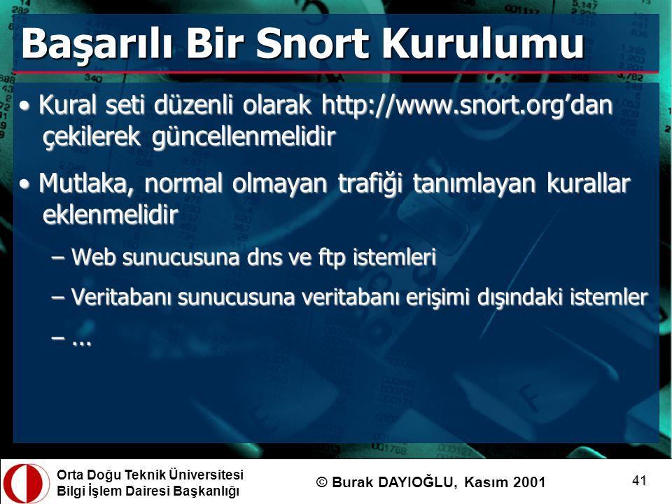 Orta Doğu Teknik Üniversitesi Bilgi İşlem Dairesi Başkanlığı © Burak DAYIOĞLU, Kasım 2001 41 Başarılı Bir Snort Kurulumu Kural seti düzenli olarak htt