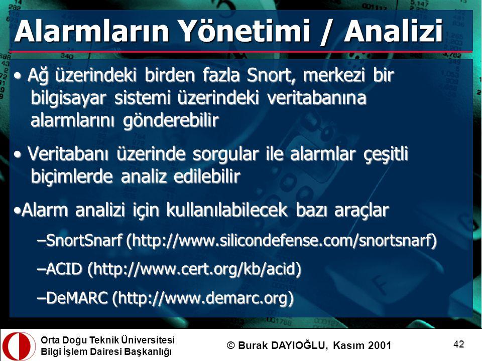 Orta Doğu Teknik Üniversitesi Bilgi İşlem Dairesi Başkanlığı © Burak DAYIOĞLU, Kasım 2001 42 Alarmların Yönetimi / Analizi Ağ üzerindeki birden fazla