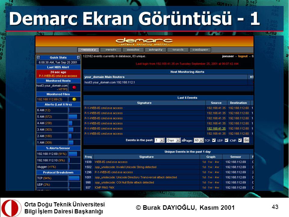 Orta Doğu Teknik Üniversitesi Bilgi İşlem Dairesi Başkanlığı © Burak DAYIOĞLU, Kasım 2001 43 Demarc Ekran Görüntüsü - 1